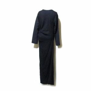 tricot COMME des GARCONS トリコ コムデギャルソン 1996 安全ピン装飾マキシ丈ワンピース (黒 ドレス ロング 変形デザイン) 112479