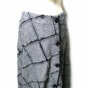CRESCENT クレッシェント「M」パッチワークラップロングスカート (グレー ツイード 切替) 113486