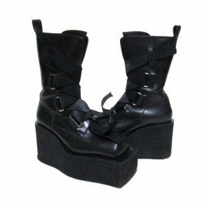 KOJI KUGA  久我 浩二 「M」超厚底ラバーソールレザーブーツ (コウジクガ 黒 靴 シューズ 皮 革) 113589