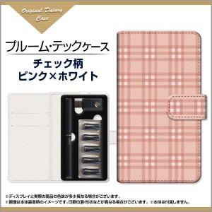 Ploom TECH ケース プルームテック収納用 手帳型カバー 手帳型ケース チェック柄ピンク×ホワイト