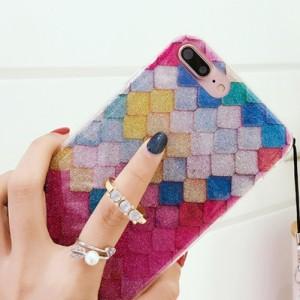 e454e43190 iPhone ケース カバー 7 6 6s plus カラフル 派手 ウロコ タイル ラメ 柄 オシャレ 可愛い リング sd-0112