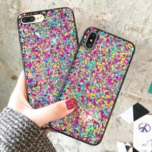 96d1d5240a iPhone ケース カバー 10 x 8 7 6 6s plus ラメ スパンコール ホログラム キラキラ カラフル カワイイ