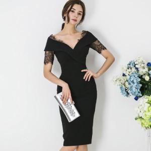5443d285ef7db 韓国 パーティードレス レース 深Vネック ワンピースドレス 大きいサイズ タイト ボディコン ドレス セクシー お呼ばれ