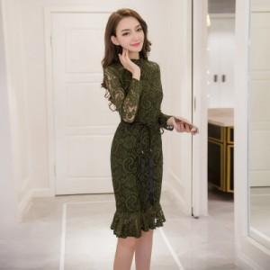 韓国 パーティードレス ハイネック 総レース ドレス ウエストベルト マーメイドライン タイトドレス お呼ばれ 結婚式