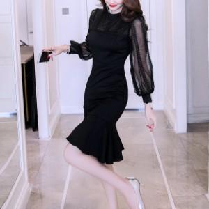 09a7a443aff3f パーティードレス マーメイド ワンピース 長袖 黒 ブラック 透け感 大きいサイズ 結婚式 お呼ばれ ドレス 二次会