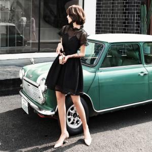 0d02debc01ae1 パーティドレス 黒 ドレス デート服 フリル 結婚式 お呼ばれドレス 大きいサイズ 小さいサイズ シースルー 20代 リトルブラックドレス