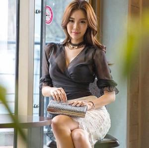 [一部即納] シースルー ブラウス ノーカラー 襟なし 七分袖 シフォン 韓国 大きいサイズ レディース トップス セクシー 春 夏