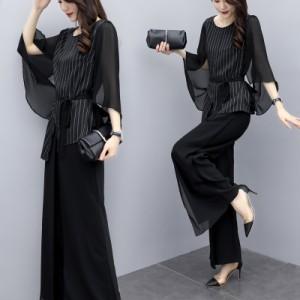 かっこいいパンツドレス セットアップ 黒 パーティードレス 結婚式 お呼ばれドレス パンツ ドレス 大きいサイズ 袖あり ウエストマーク