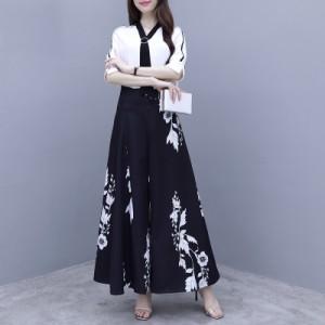 かっこいい パンツドレス セットアップ パーティードレス 結婚式 お呼ばれドレス パンツ 花柄 シンプル 袖あり 五分袖 大きいサイズ 3L