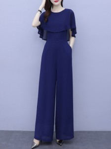 パンツドレス かっこいい パーティードレス パンツ 結婚式 お呼ばれドレス 袖あり 半袖 オールインワン レディース 大きいサイズ 3L 4L