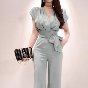 かっこいいパンツドレス パーティードレス パンツ セパレート 結婚式 セットアップ パンツドレス 大きいサイズ 袖あり ウエストリボン