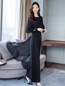 [一部即納] パンツドレス 結婚式 お呼ばれドレス 黒 韓国 パーティードレス かっこいいパンツドレス フォーマル シフォン ワイドパンツ