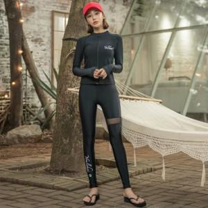 9228742bd85 フィットネス水着 水着 レディース 体型カバー 4点セット 大きいサイズ ラッシュガード 長袖 レギンス ビキニ
