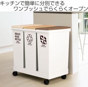 ゴミ箱 資源ゴミ分別 横型3分別ワゴン ( 防臭 スリム キッチン 台所 )