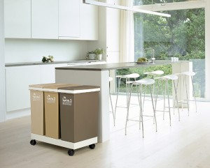 ゴミ箱 資源ゴミ分別 横型3分別ワゴン ( ダストボックス 防臭 スリム キッチン 台所 )