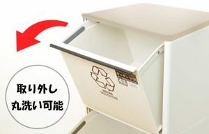 ゴミ箱 資源ゴミ分別ワゴン(ワイド)3段 ( 防臭 スリム キッチン 台所 )