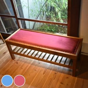 ベンチ 2人掛け 天然木フレーム レトロ調 JEM 幅102cm ( チェア )
