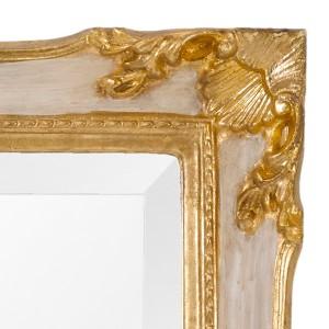 ウォールミラー アンティーク調 天然木フレーム イタリア製 壁掛けフック付 幅72cm ( ミラー 姿見 全身鏡 姫系)