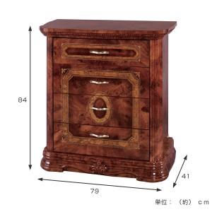 チェスト 4段 クラシック調 姫系 AMALFI 幅79cm ( ロマンチック フェミニン 4杯 引き出し タンス 衣類収納 )