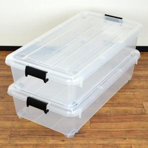 衣装ケース 押入れ収納 コロ付き 幅40×奥行74×高さ18cm 浅型 フタ付き 2個セット