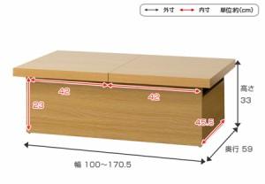 ローテーブル ユーロ 収納スペース付き ナチュラル