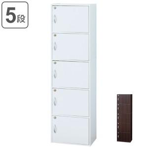 カラーボックス 5段 全段鍵付 幅42cm ( 送料無料 収納 キャビネット 棚 本棚 扉付き 鍵付き 収納ボックス ロッカー BOX 収納棚 )