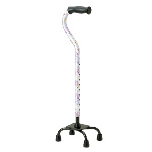 杖 4点支柱杖 アルミ製 白花柄 非課税 ( 室内用 )