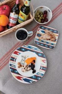 ボウル 12cm ウィークエンド クロス 洋食器 硬質陶器 同柄5個セット ( 食洗機対応 )