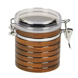 保存容器 ロック式 キャニスター 円筒型 600ml スプーン付 ( 木目 )