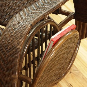 籐 座椅子 フットレスト付 ハイバック 三つ折椅子 ラタン家具 Handmade 座面高36cm ( ラタン製 籐製 アジアン アジアン家具 )