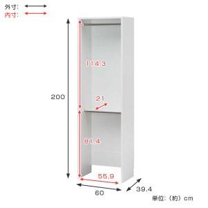 壁面収納 ハンガーラック 2段 ポルターレクローク 幅60cm ( オープンラック 整理棚 クローゼット 突っ張り )