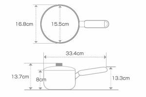 片手鍋 ノルディーズ 16cm ふっ素加工 IH対応 ふた付き