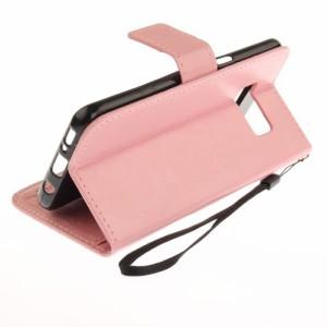 Galaxy S8 レザーケース ピンク 強化ガラス保護フィルム付き ギャラクシーS8 カバー 手帳型スタンド機能 ICカードスロット 札入れ