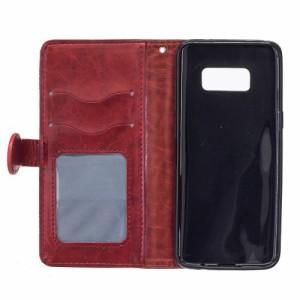 Galaxy S8 Plus レザーケース レッド 強化ガラス保護フィルム付き ギャラクシーS8 プラス カバー 手帳型スタンド機能 ICカードスロット