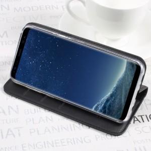 Galaxy S8 Plus レザーケース ブラック 強化ガラス保護フィルム付き ギャラクシーS8 プラス カバー 手帳型スタンド機能 ICカードスロット