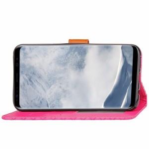 Galaxy S8 Plus レザーケース ローズ 強化ガラス保護フィルム付き ギャラクシーS8 プラス カバー 手帳型スタンド機能 ICカードスロット