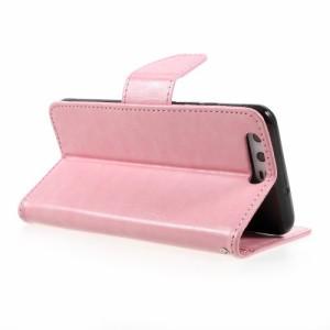 Huawei P10 レザーケース ピンク 強化ガラス保護フィルム付き ファーウェイ P10 カバー 手帳型スタンド機能 ICカードスロット 札入れ