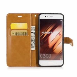 Huawei P10 レザーケース レッド 強化ガラス保護フィルム付き ファーウェイ P10 カバー 手帳型スタンド機能 ICカードスロット 札入れ