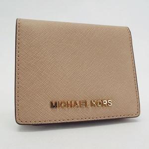699ff62a958d マイケルコース 二つ折り財布 札入れ カードケース パスケース ベージュ 中古 Aランク MICHAEL KORS