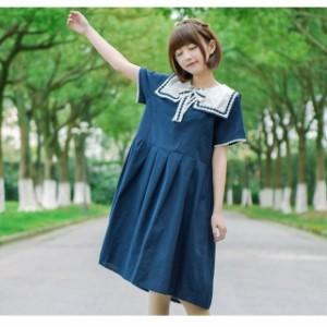 816f631e4fa6c 女子高校生 海軍風ワンピ セーラー服 レディースワンピース セーラー襟お姫様ロリータ 制服 の画像