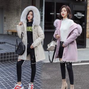 韓流 レディース フード付き ゆったり型 中綿コート防寒 ロングコート ダウンコート