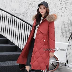 防寒冬季2019 新品 ダウンコート レディース 大きいサイズ中 ロングコート シルエット 中綿コート 厚手  アウターアウター