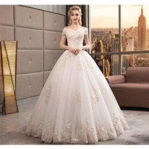 a73fa2e15b6 最新作 レース ウェディングドレス オフショルダー Aライン 白 結婚式 披露宴 ベール パニエ グローブ