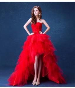 81ad1a63f87a1 お得 レッドロースレース ウェディングドレス パーティドレス チュールスカート ビスチェ トレーン 赤 結婚式
