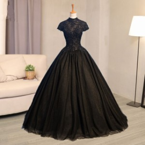 4ba2a470e9f29 豪華 復古調 黒 ウェディングドレス パーティドレス ロングドレス ワンピ Aライン 結婚式 演奏