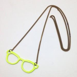 ネックレス カジュアル メガネ型 (イエロー)