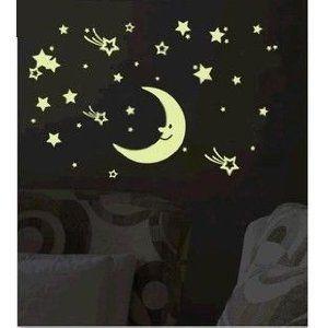 ウォールステッカー 暗い所で光る にっこりお月様と星