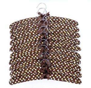ハンガー シルク風 リボン付き 10本セット (ブラウン×カラフルドット)