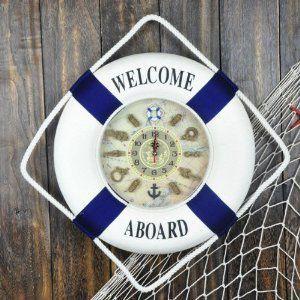 掛け時計 浮き輪型 マリン 文字盤がかわいい (ブルー, 35cm)