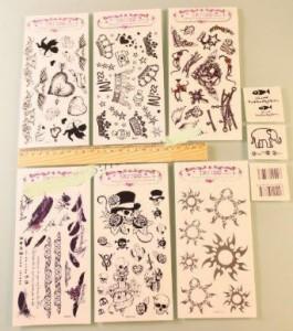 タトゥーシール スカル 羽根 天使 王冠 バーコード 9種類 盛り沢山セット